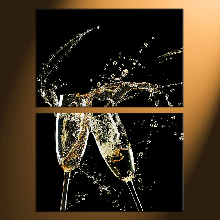 2 Piece Huge Canvas Print, Champagne Glass Multi Panel Canvas, Champagne  Canvas Photography, Champagne Drink Canvas Wall Art, Drink Art Part 75