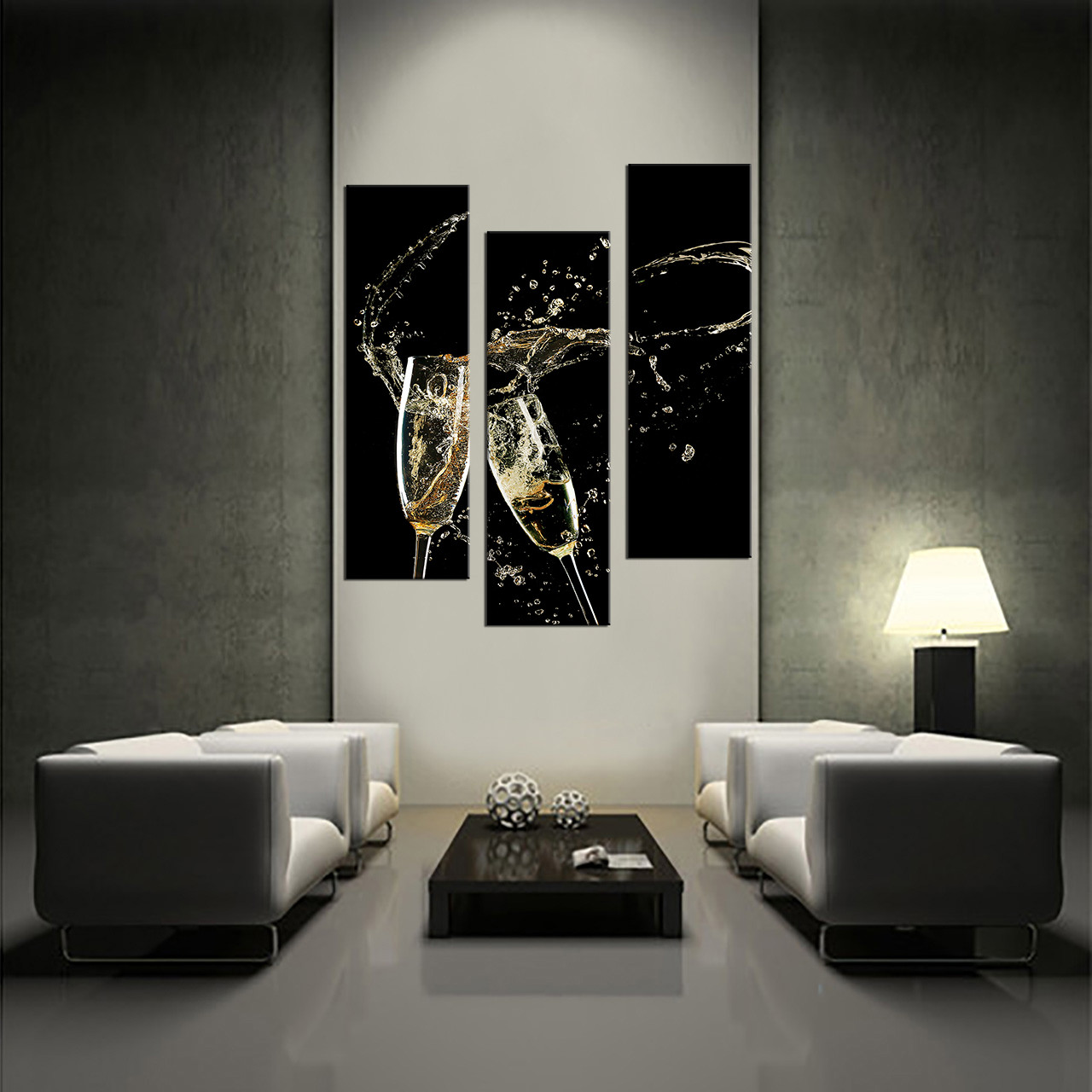 Multi Piece Canvas Wall Art 3 piece canvas wall art, champagne multi panel art, champagne