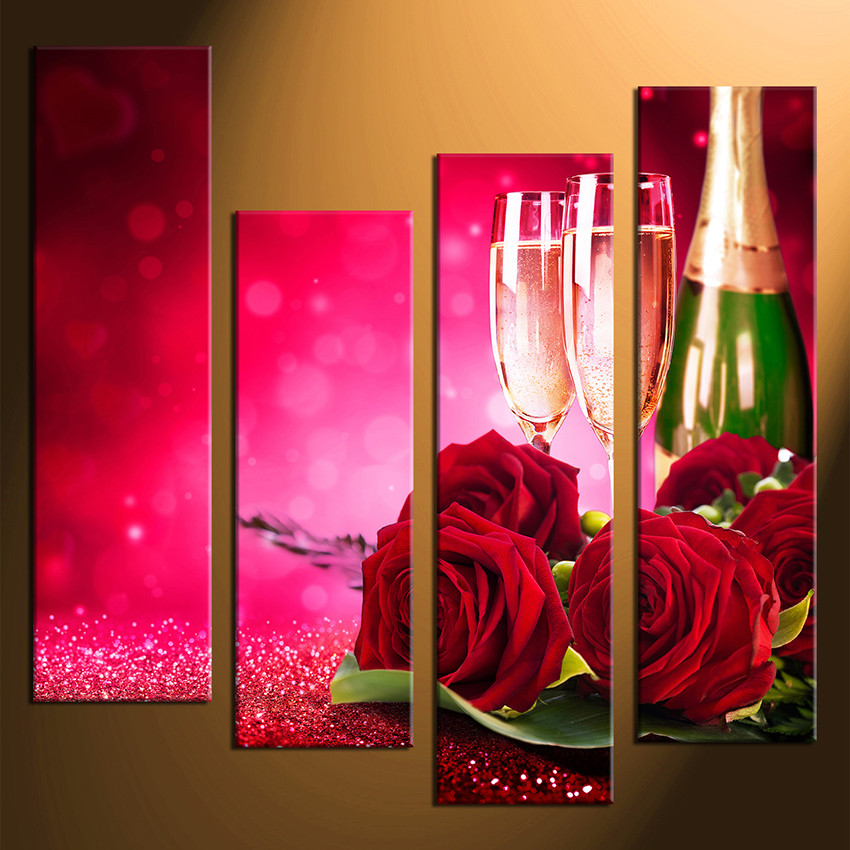 4 Piece Wall Art, Home Decor, Wine Multi Panel Art, Rose Large Pictures Part 69