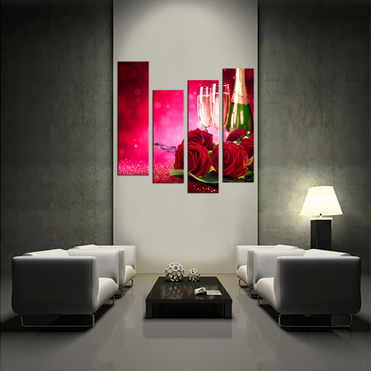 3 Piece Purple Cherry Blossom Muti Panel Abstract Modern: 4 Piece Canvas Photography, Red Huge Canvas Print, Red