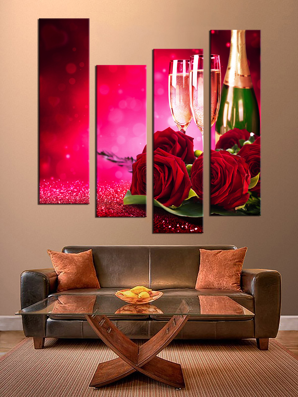 Art Décor: 4 Piece Canvas Photography, Red Huge Canvas Print, Red