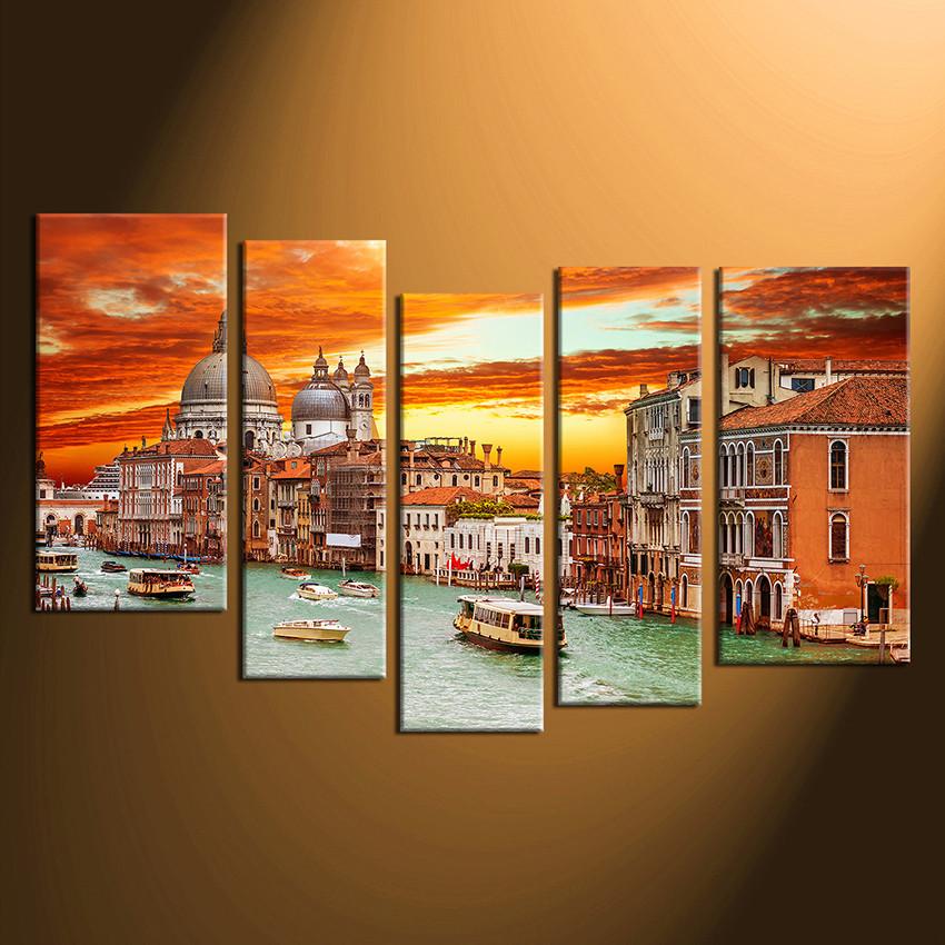 Five Piece Canvas Wall Art 5 piece artwork, city canvas art prints, gondola huge multi panel