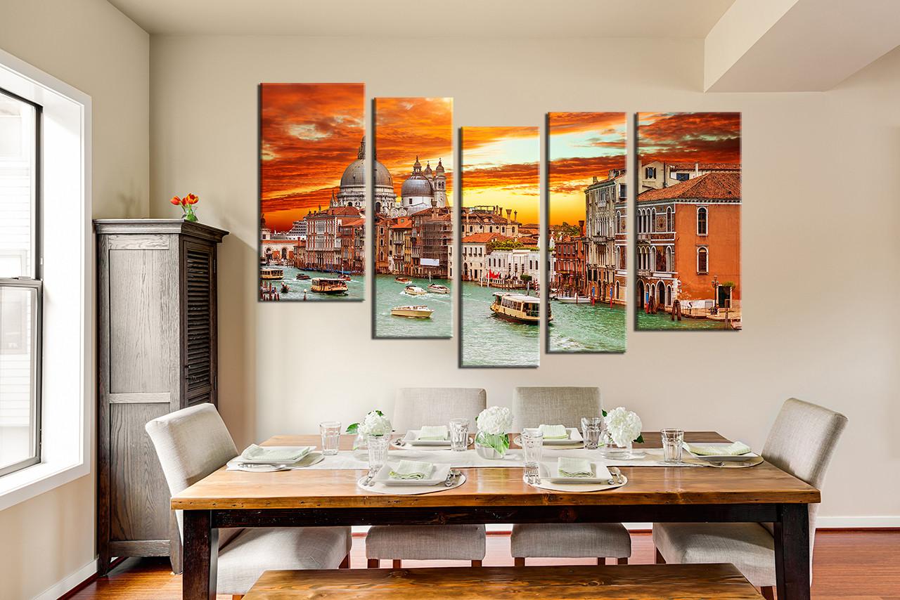 5 Piece Multi Panel Art, Dining Room Canvas Wall Art, City Art, Orange