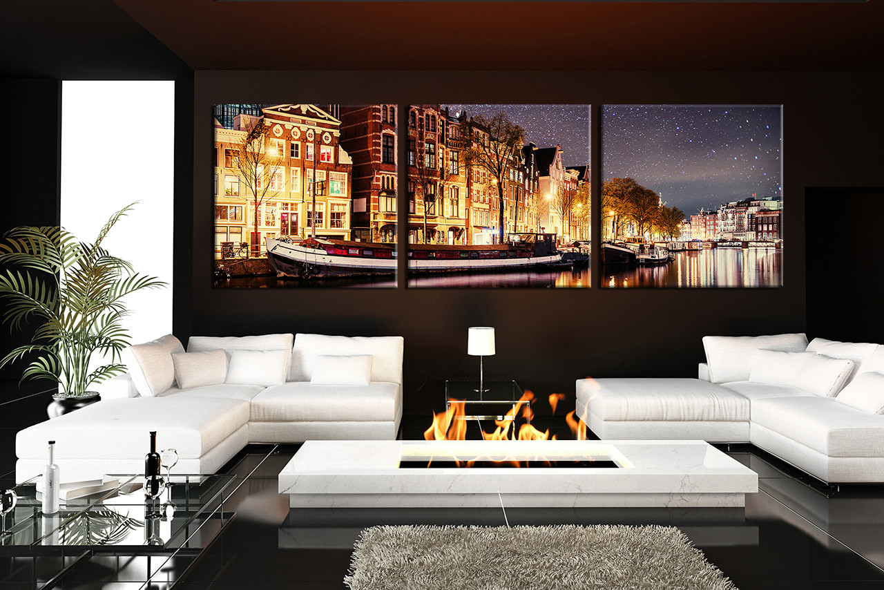 3 Piece Huge Canvas Art, Living Room Artwork, Star Canvas Print, Yellow  Large