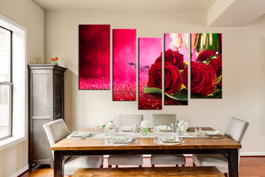 5 piece canvas print, red rose huge pictures, dining room wall decor, champagne group canvas