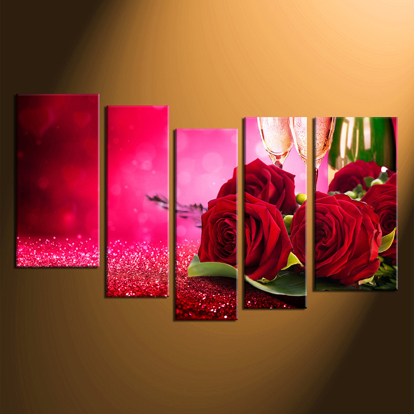 5 Piece Large Pictures, Champagne Multi Panel Art, Red Rose Artwork ...