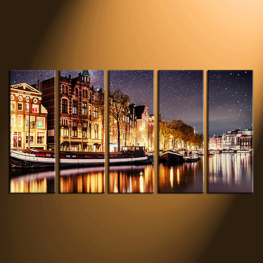 5 piece canvas wall art home decor star photo canvas yellow art