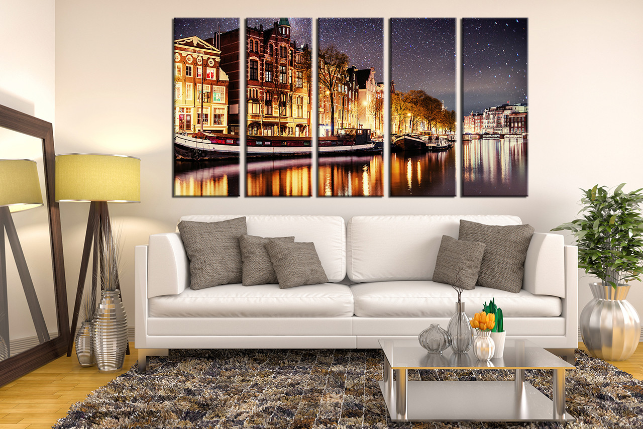5 Piece Artwork Yellow Canvas Wall Art Beautiful City Canvas Art