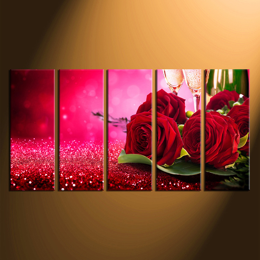 5 Piece Canvas Wall Art, Red Rose Huge Canvas Prints, Champagne ...