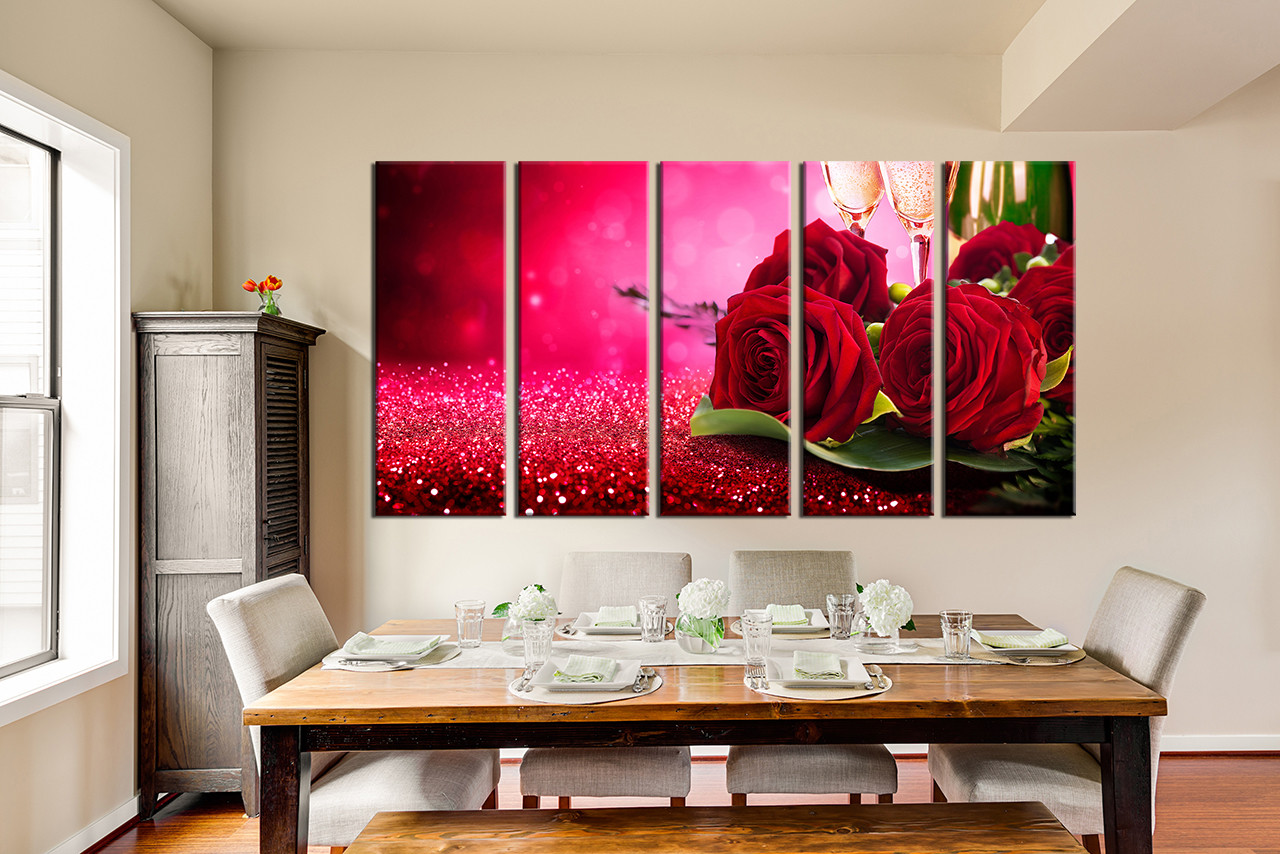 Charmant 5 Piece Canvas Print, Red Rose Huge Pictures, Dining Room Wall Decor, Rose