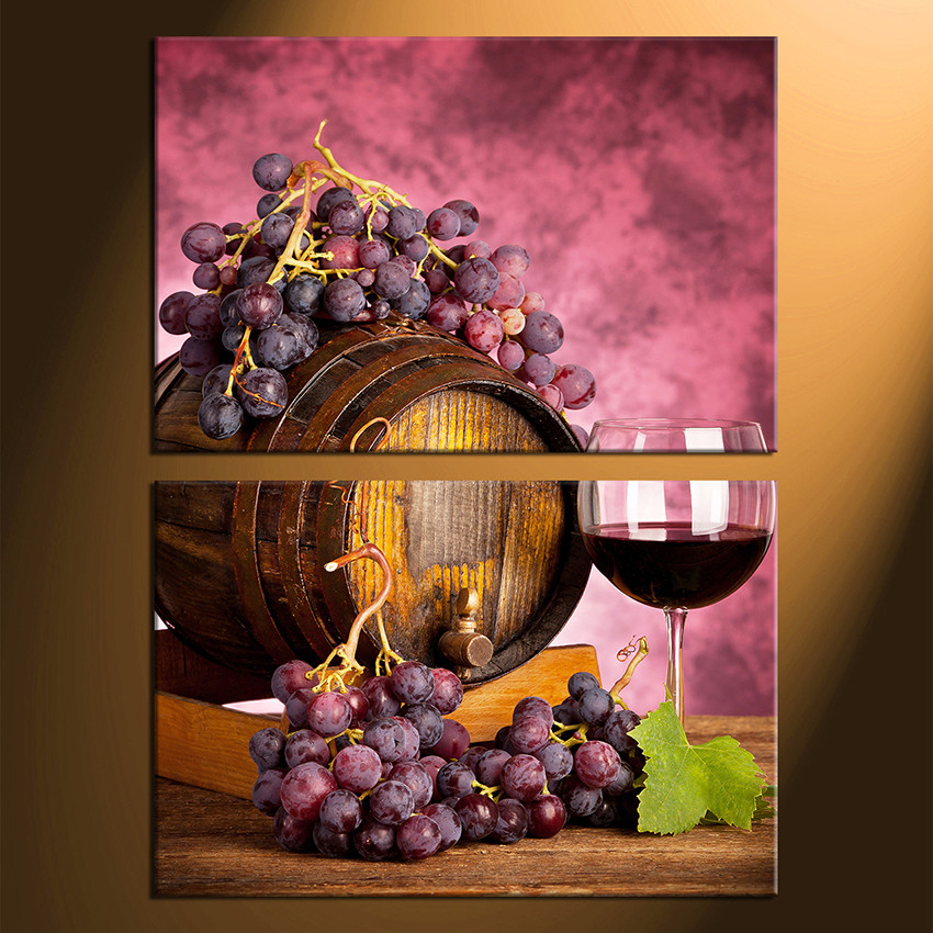2 Piece Canvas Photography, Wine Huge Canvas Print, Grapes Large ...