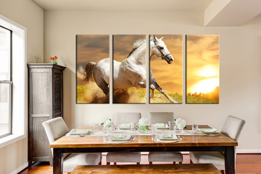 4 piece large pictures, dining room wall art, horse canvas print, wildlife huge canvas print, wildlife artwork