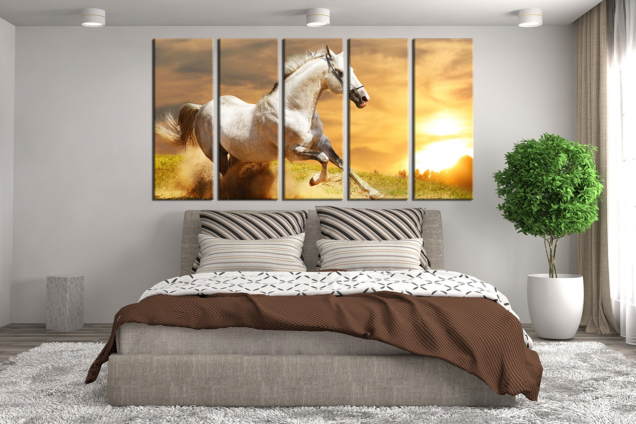 Wall Panel Art 5 piece canvas wall art, horse multi panel art, nature canvas