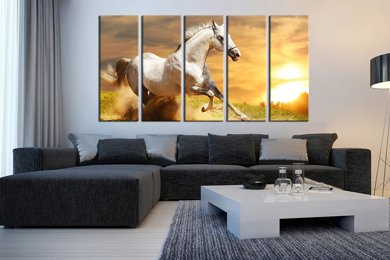 Wall Art Horses 5 piece canvas wall art, horse multi panel art, nature canvas
