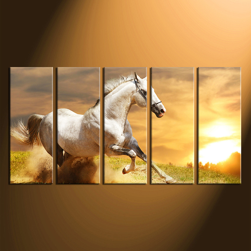 5 Piece Canvas Wall Art, Horse Multi Panel Art, Nature Canvas Print ...