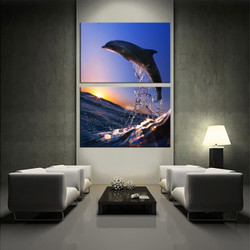 wildlife canvas wall art, living room wall art, 2 piece huge canvas art, dolphin multi panel art, wildlife wall art