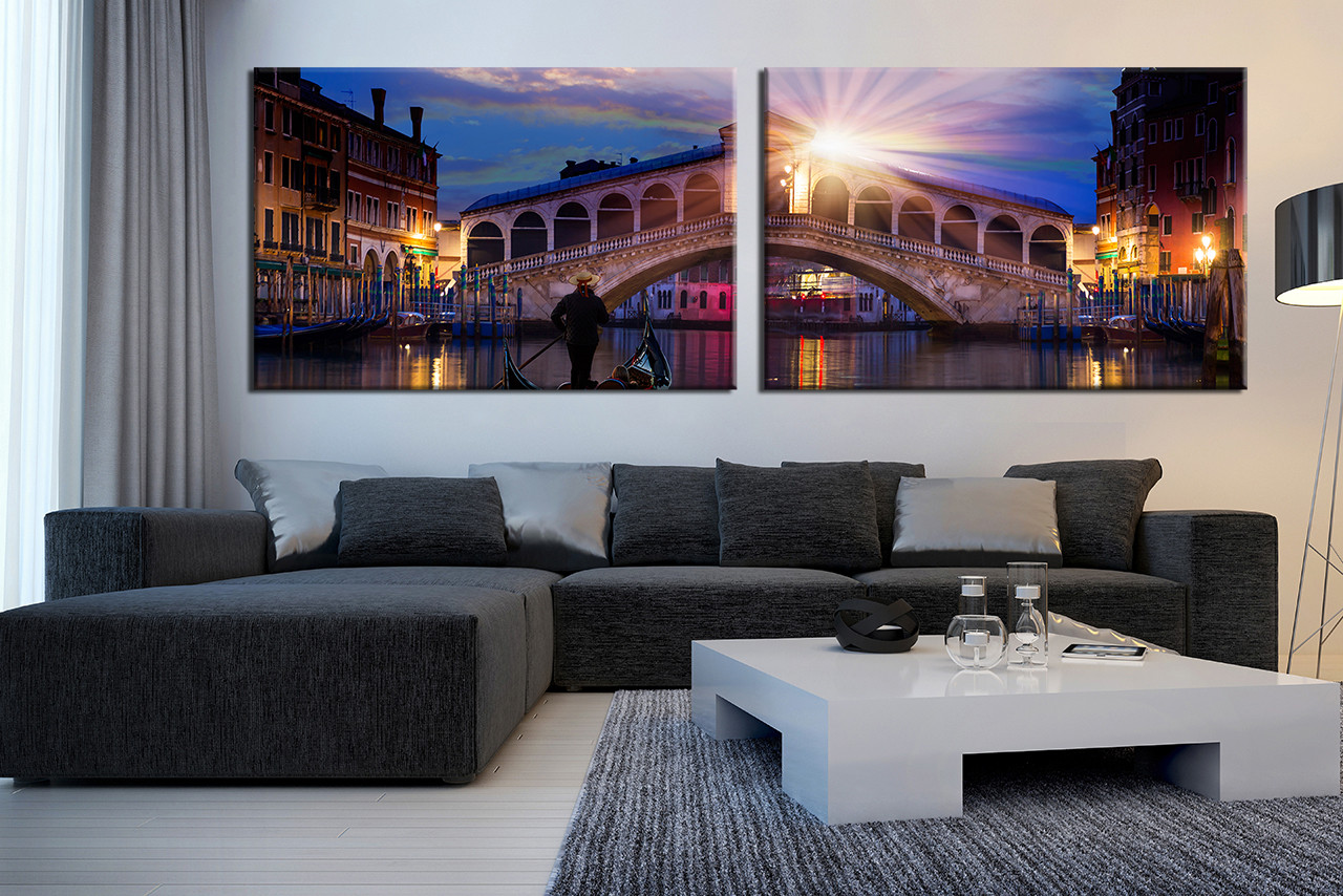 2 Piece Multi Panel Canvas Living Room Photo Beautiful City Huge Print
