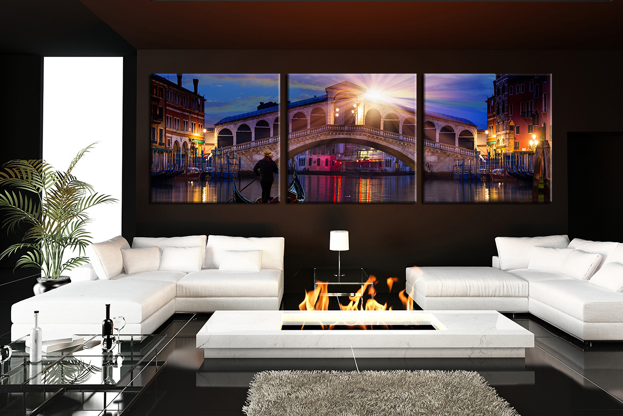 3 Piece Multi Panel Canvas Living Room Group Cityscape Huge Art
