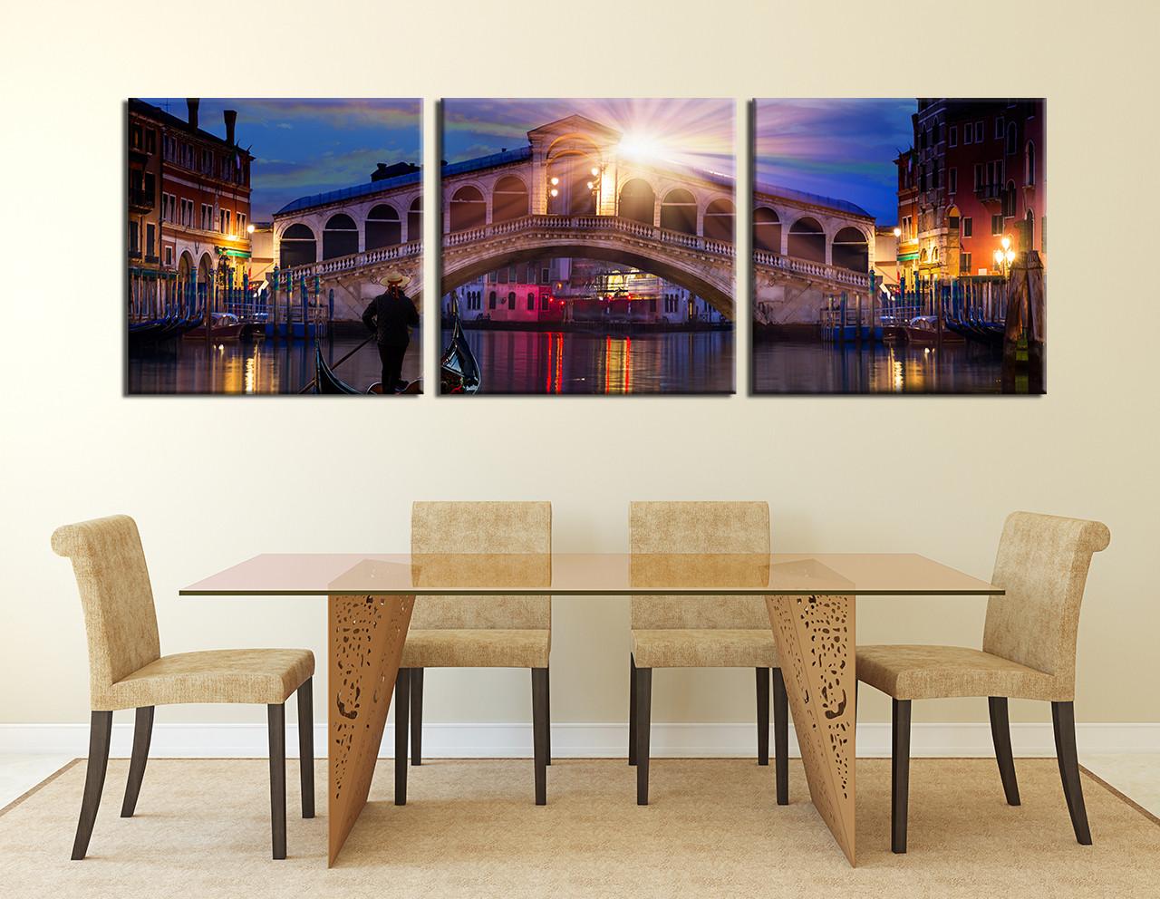 Cityscape Wall Art 3 piece artwork, blue canvas wall art, beautiful city canvas art