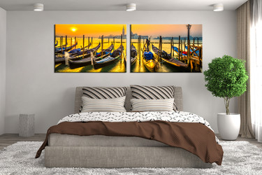 2 piece wall decor, bedroom photo canvas, yellow artwork, sea huge canvas art, panoramic multi panel art