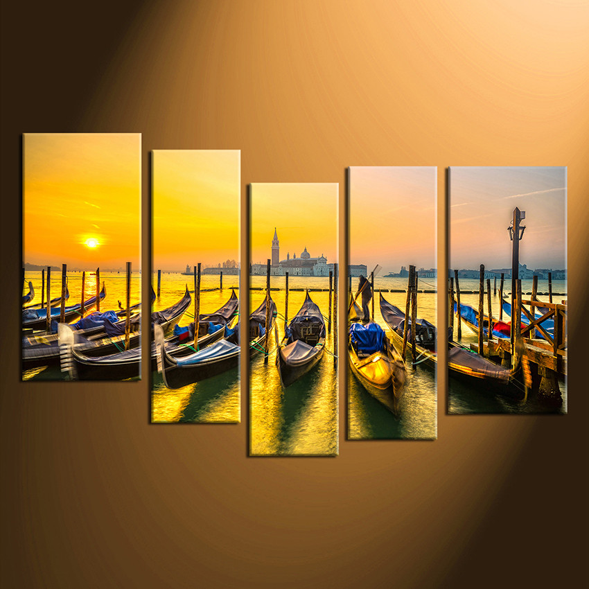 5 Piece Multi Panel Canvas Ocean Boats Wall Decor, Yellow Sea Group ...