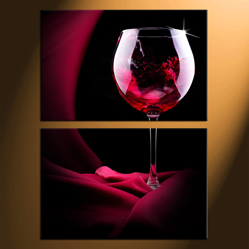 2 Piece Large Pictures, Red Wine Multi Panel Art, Wine Glass Canvas ...