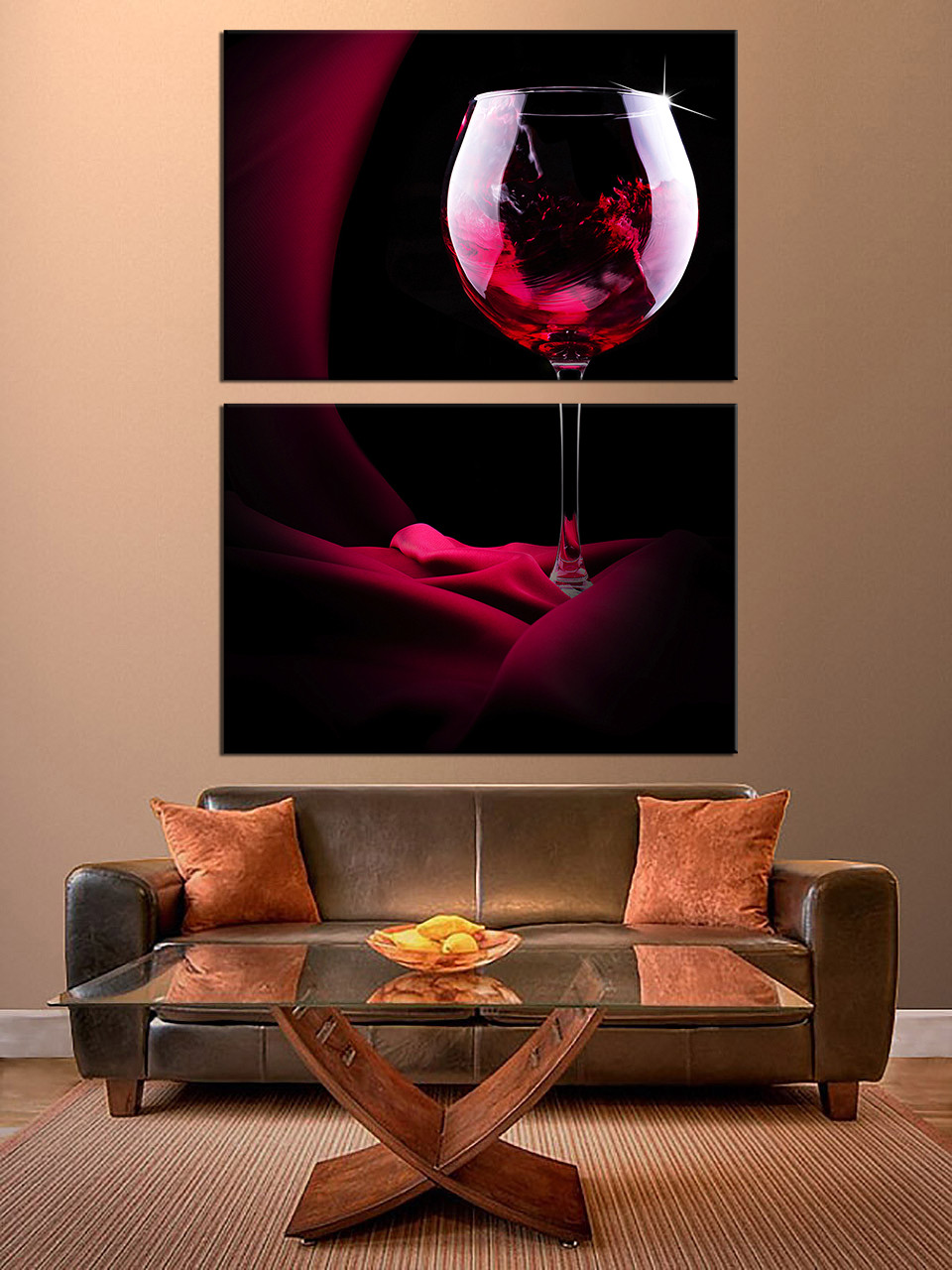 2 Piece Large Pictures, Red Wine Multi Panel Art, Wine Glass Canvas  Photography, Red Canvas Wall Art, Wine Huge Canvas Print Part 34