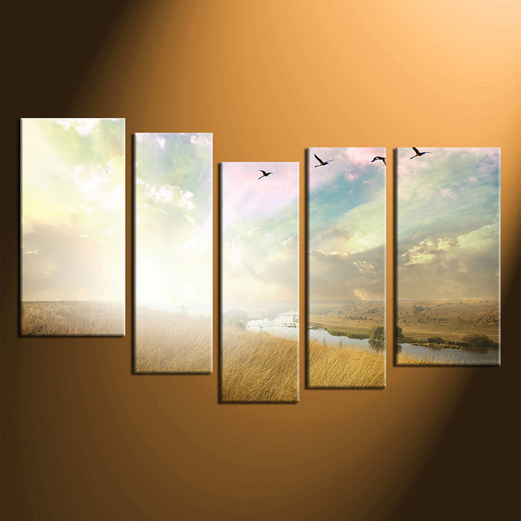 5 piece photo canvas yellow scenery canvas wall art. Black Bedroom Furniture Sets. Home Design Ideas