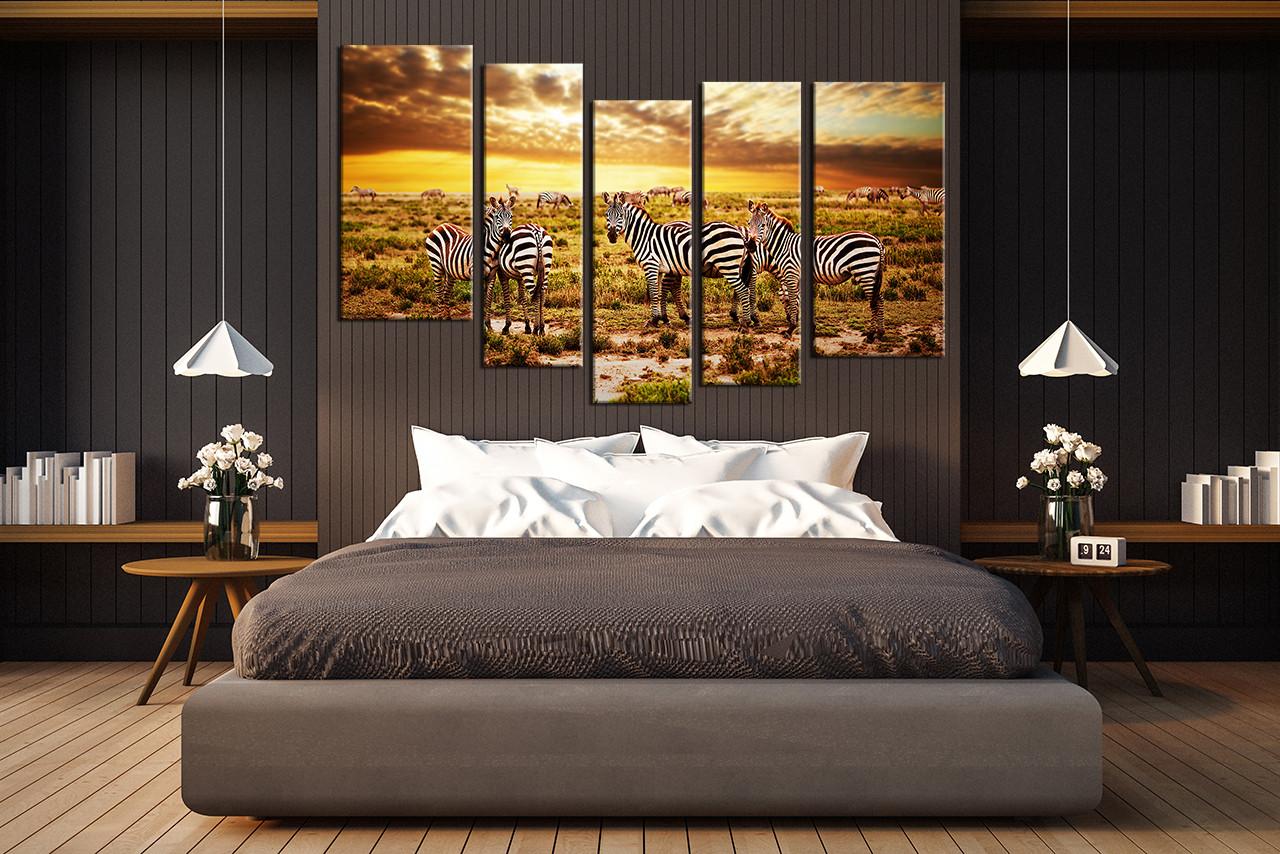 Zebra wall decor bedroom - Bedroom Decor 5 Piece Wall Art Zebra Large Pictures Wildlife Art Animal