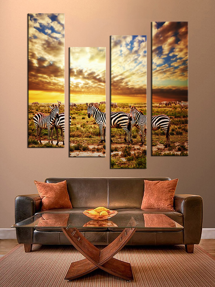 4 piece multi panel art colorful wall decor zebra group for Piece of living room decor
