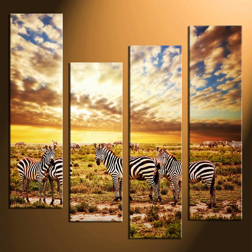 4 Piece Multi Panel Art, Colorful Wall Decor, Zebra Group Canvas ...