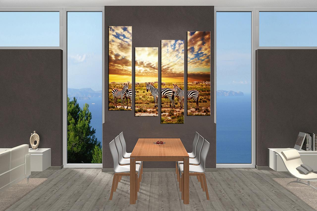 4 piece multi panel art colorful wall decor zebra group canvas dining room art 4 piece canvas art prints wildlife wall art zebra artwork amipublicfo Image collections