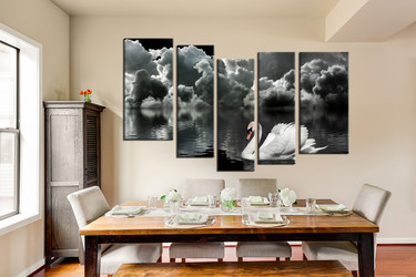 dining room wall decor, 5 piece wall art, black and white canvas photography, swan wall art, wildlife large canvas
