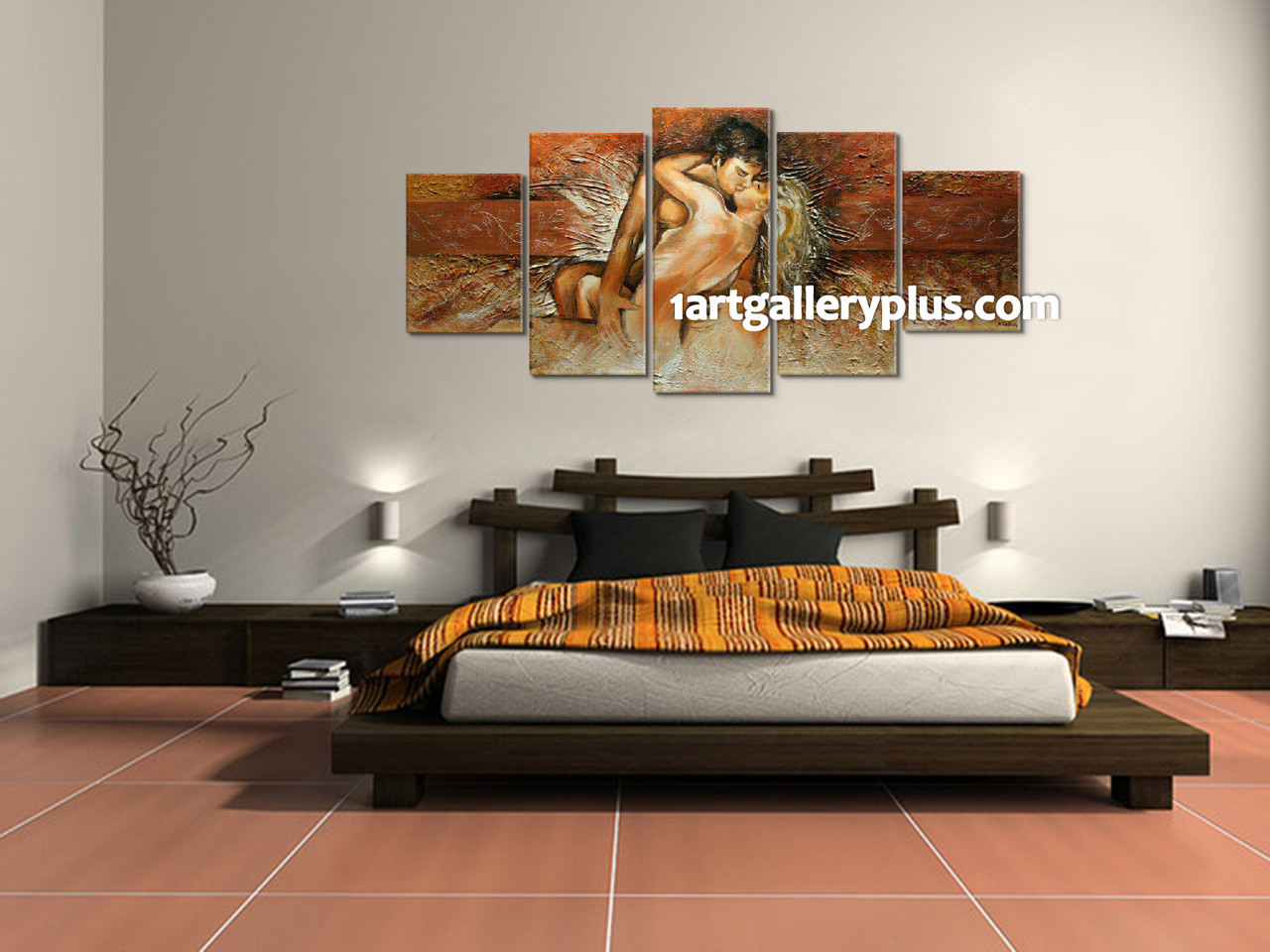 Incroyable 5 Piece Canvas Print, Bedroom Photo Canvas, Abstract Multi Panel Art, Brown  Artwork