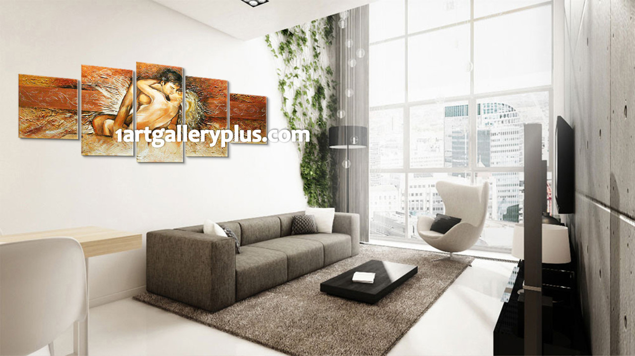 5 Piece Canvas Wall Art, Abstract Sensual Artwork, Oil Paintings ...