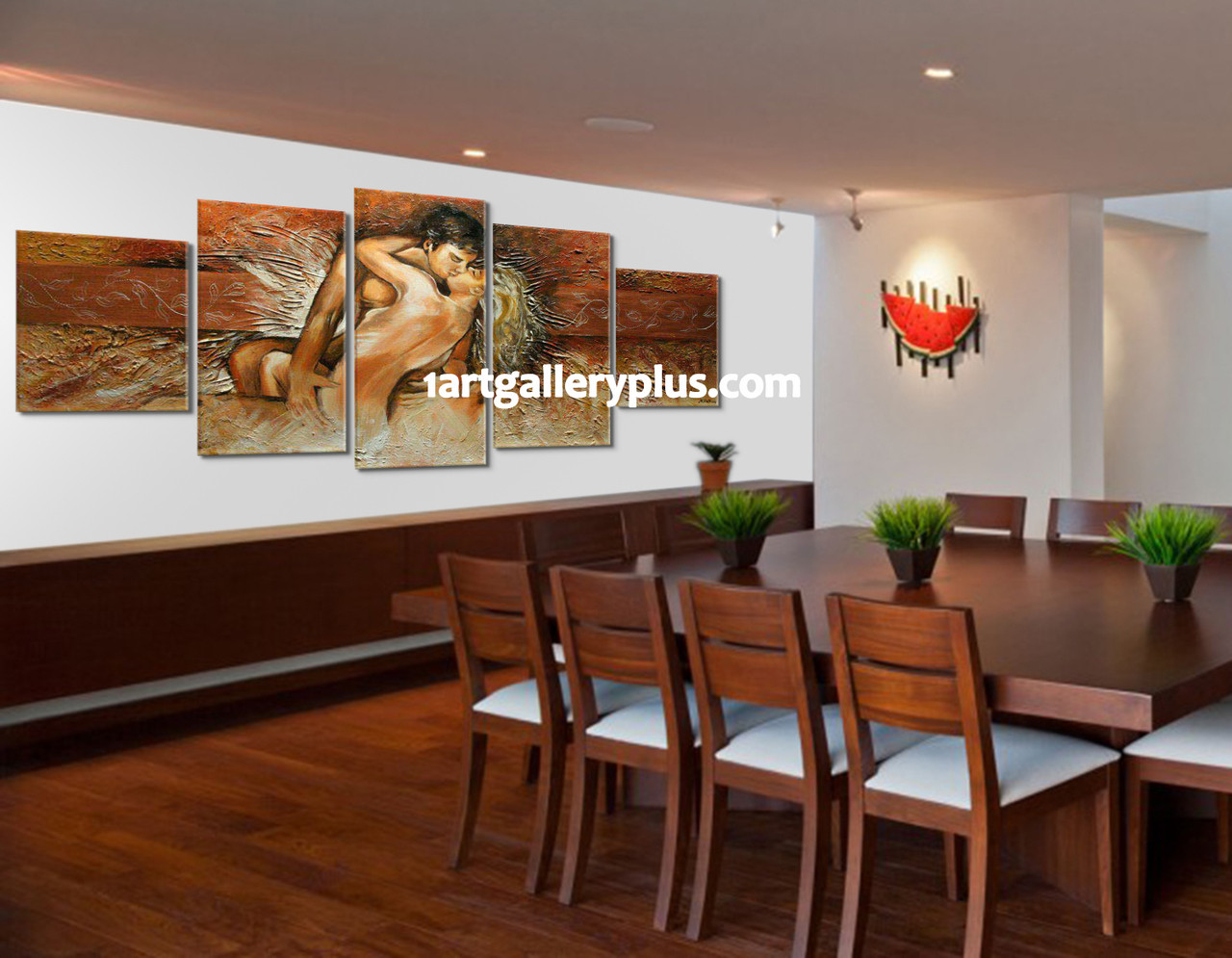 5 Piece Multi Panel Art, Dining Room Art, Abstract Canvas Photography,  Brown Large