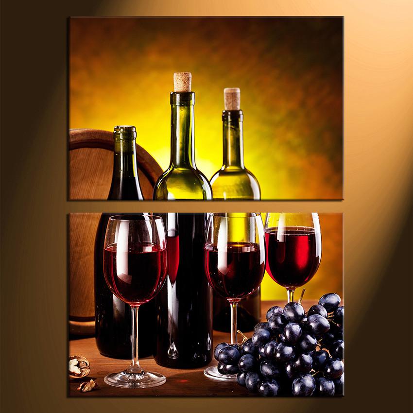 2 Piece Huge Canvas Print, Red Wine Multi Panel Art, Grapes Wine ...
