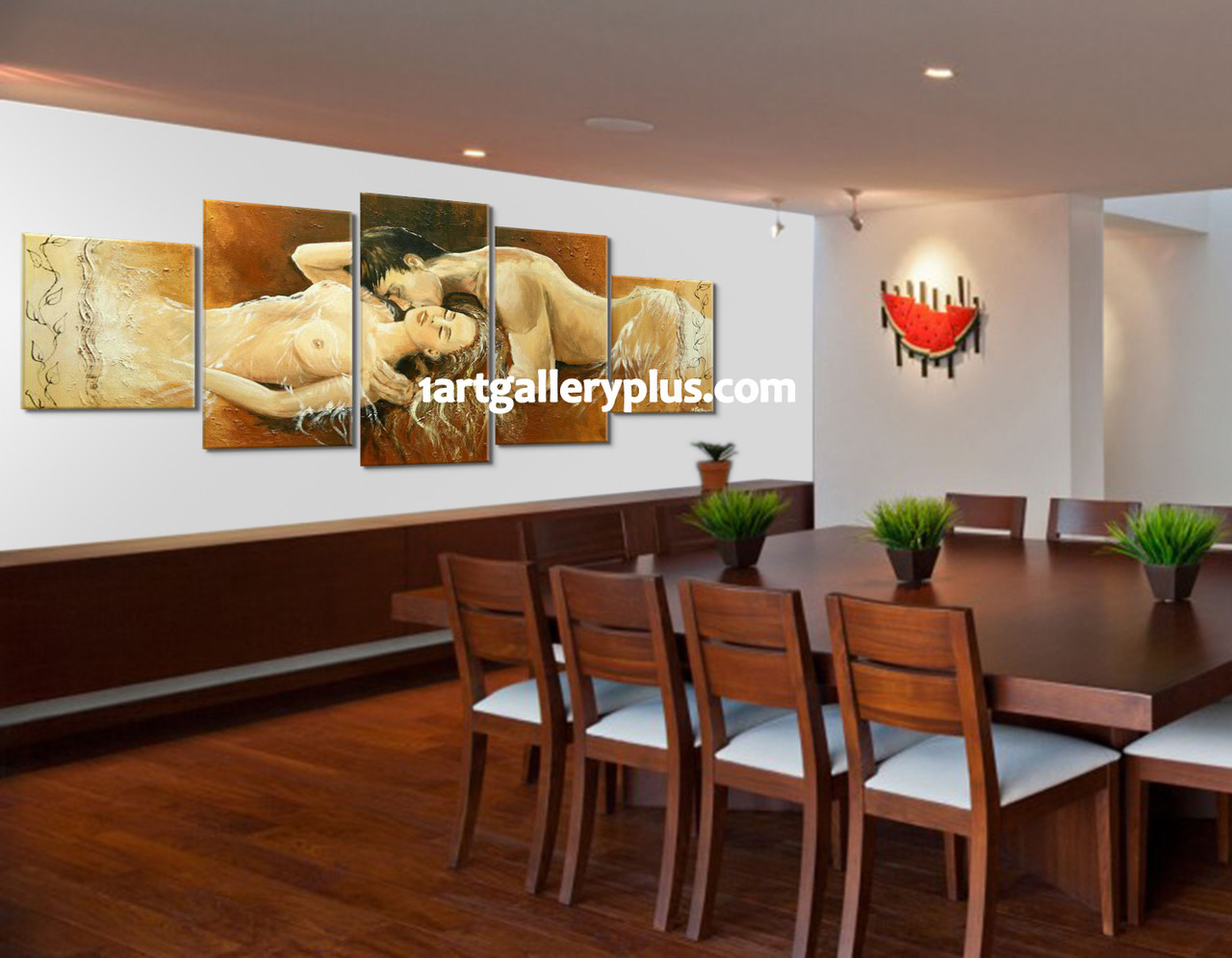 5 Piece Huge Pictures Dining Room Canvas Photography Abstract Art Brown Photo