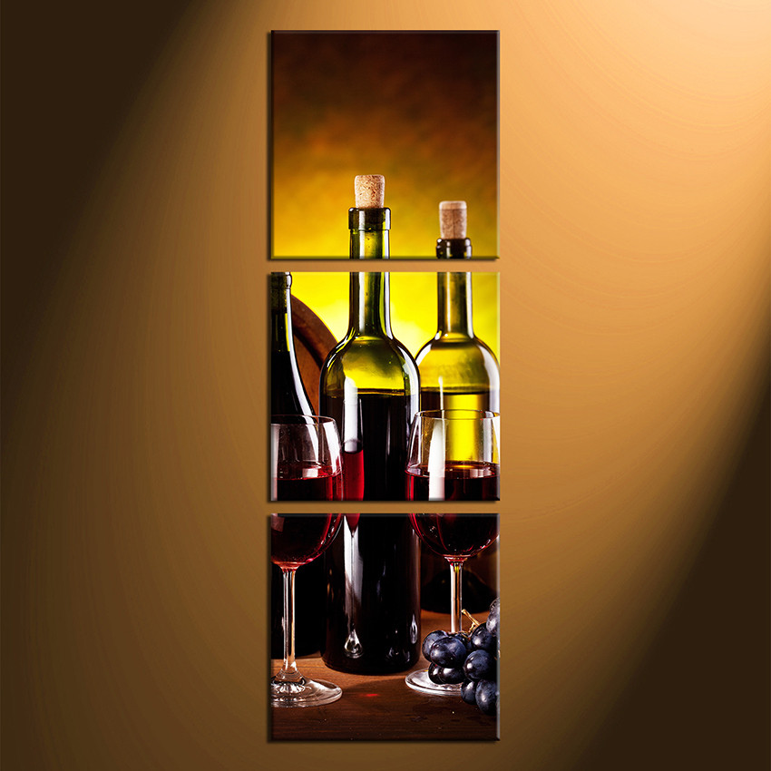 Multi Piece Canvas Wall Art 3 piece canvas wall art, wine bottle huge canvas print, red wine