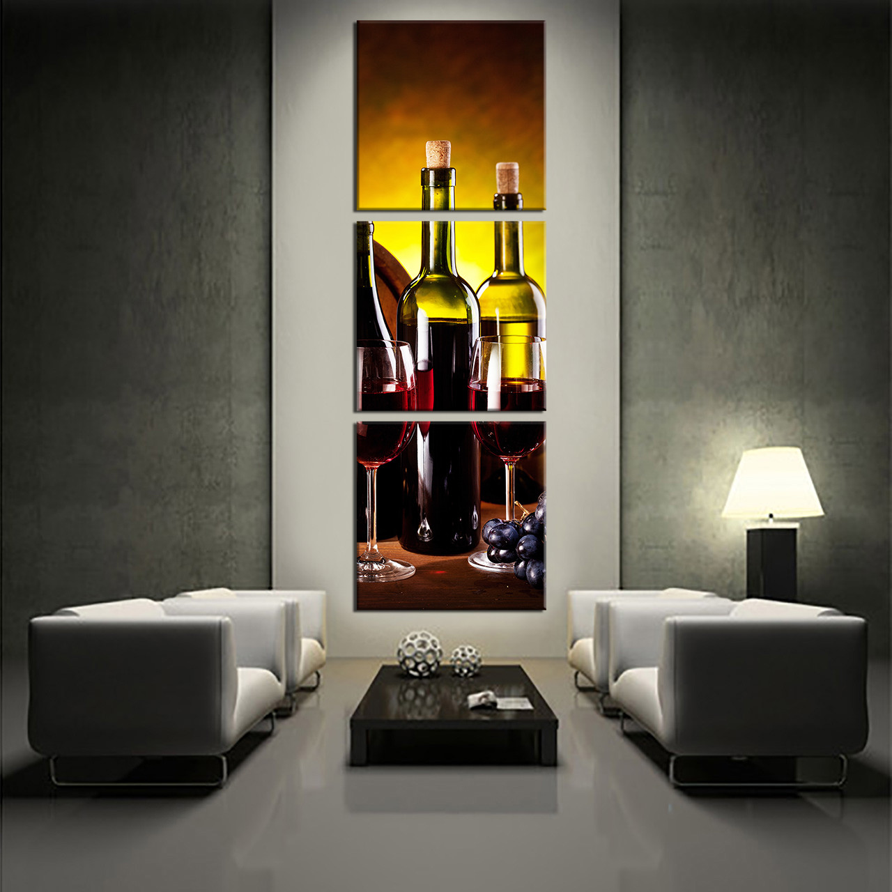 2017 Wall Art Fruit Grape Red Wine Glass Picture Art For: 3 Piece Canvas Wall Art, Wine Bottle Huge Canvas Print