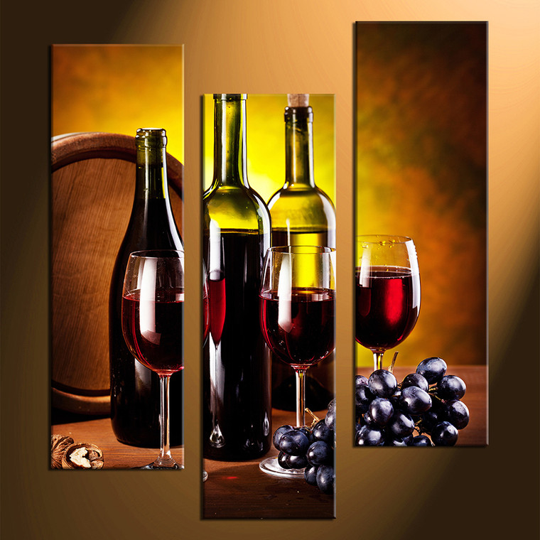 3 piece large canvas red wine multi panel canvas wine for Wine bottle artwork