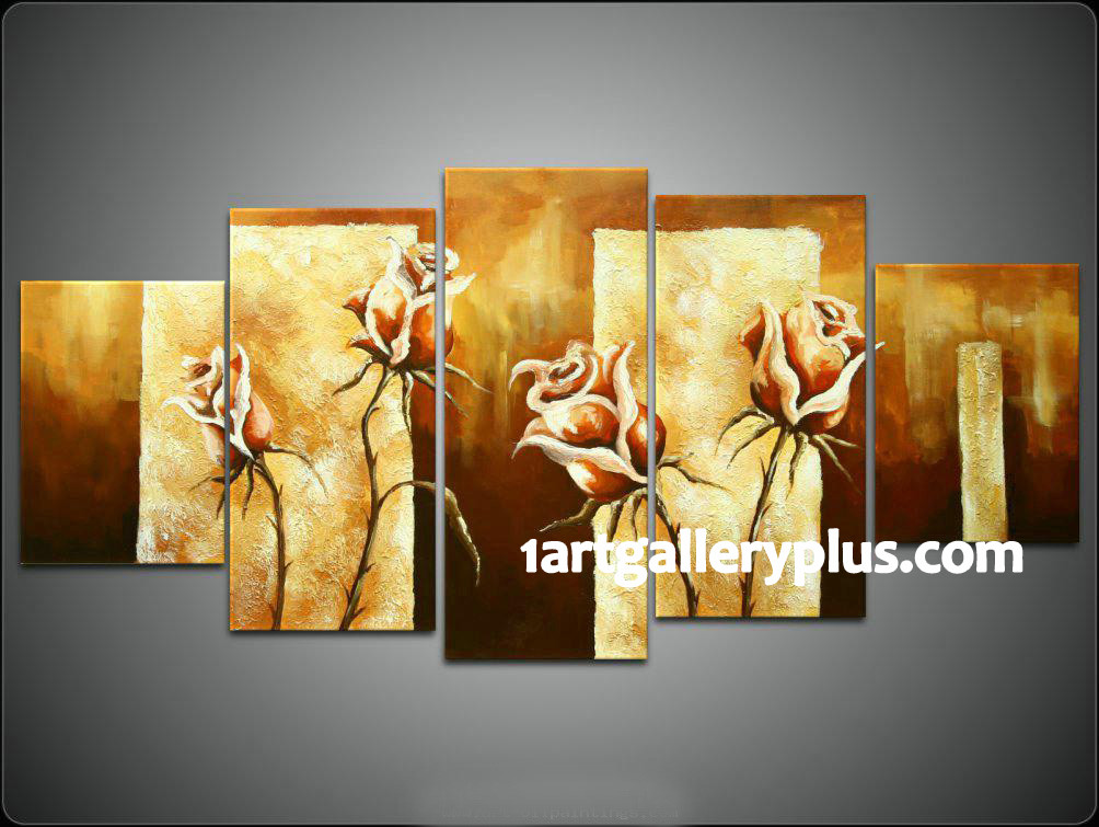 5 Piece Group Canvas, Yellow Flowers Wall Art, Oil Painting Huge ...