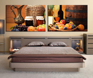 bed room wall art, 2 piece wall art, yellow multi panel art, wine large pictures, fruits photo canvas