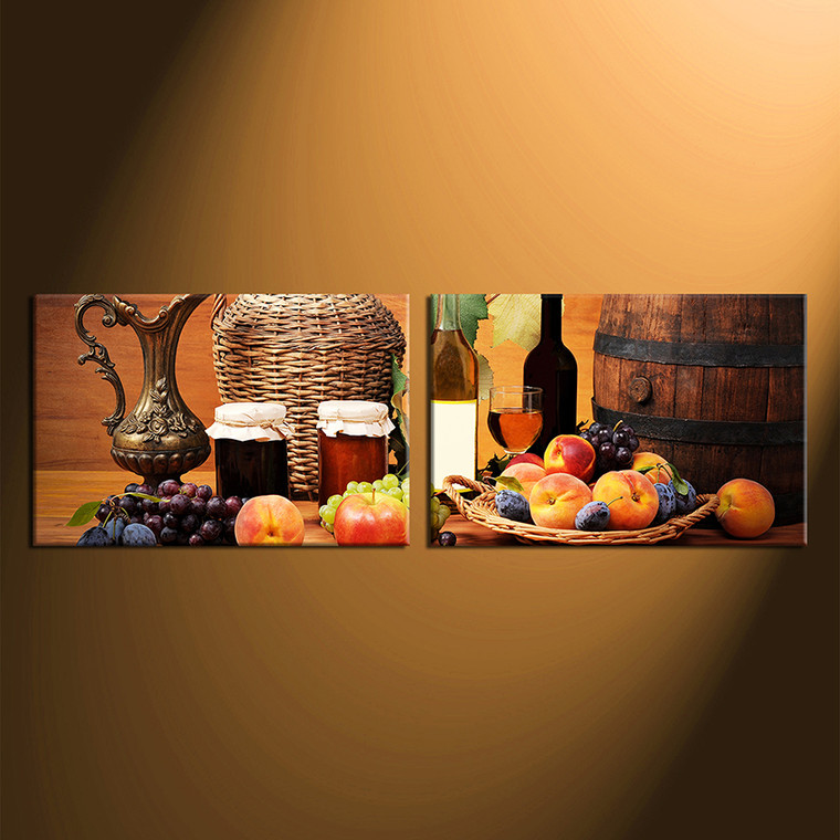2017 Wall Art Fruit Grape Red Wine Glass Picture Art For: 2 Piece Huge Canvas Print, Wine Huge Multi Panel Art