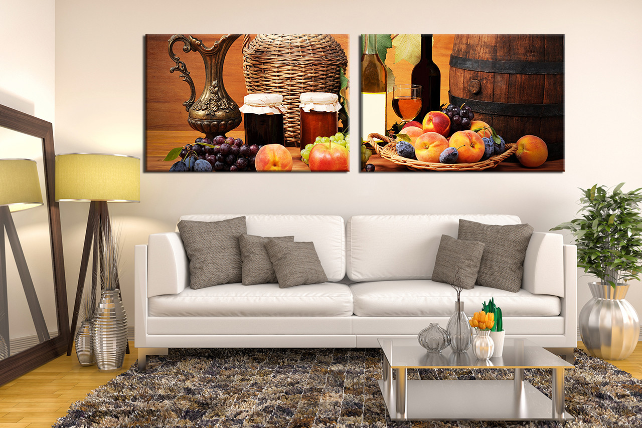 Home Decor,2 Piece Wall Art, Wine Multi Panel Canvas, Fruits Canvas Wall