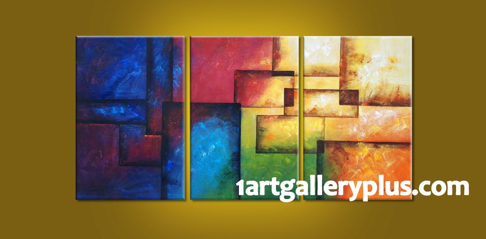 Triptych Wall Decor Colorful Artwork, Abstract Huge Canvas Art, Oil ...