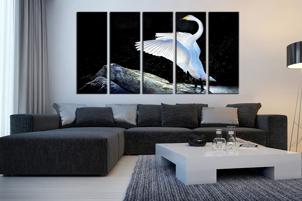 5 Piece Huge Canvas Print, Swan Canvas Photography, Wildlife Wall ...