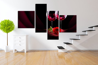 4 piece wall decor, living room wall art,  multi panel art, wine large pictures, red rose photo canvas