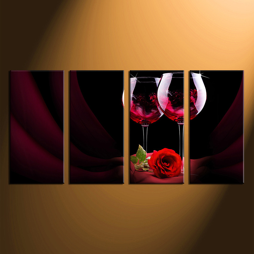 4 Piece Wall Decor, Home Decor, Wine Wall Art, Multi Panel Art,