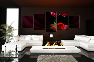 5 piece large pictures, living room canvas photography, rose multi panel canvas, red rose canvas wall art